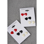 Earrings 3 Pair Poly Hearts carve Red White Black Mix/DZ **Post** Red White Black Mix,Earring Card & Opp bag & UPC Code,3 pair per Card,12 card=Dozen