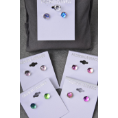 Earrings Round 8mm Crystal Ball AB Multi/DZ **Post** 6 Color Mix,Earring Card & OPP bag & UPC Code -