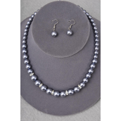 "Necklace Sets Graduate from 12 mm Glass Pearls Rhinestone Bezel Gray/Sets **Gray** 18"" Extension Chain,Hang tag & Opp bag & UPC Code"