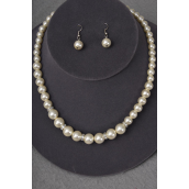"Necklace Sets Graduate from 12 mm Glass Pearls Rhinestone Bezel Cream/Sets **Cream Pearl** 18"" Extension Chain,Hang tag & Opp bag & UPC Code -"