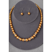 "Necklace Sets Graduate from 16mm Glass Pearls W Rhinestone Bessel Gold/Sets **Gold** 18"" W Extension Chain,W hang tag W Opp bag & UPC Code -"