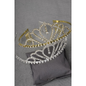"Tiara Large With Rhinestones/PC Size-2""x 8"" Wide,Choose Gold Or Silver Finishes,W OPP Bag & UPC Code -"