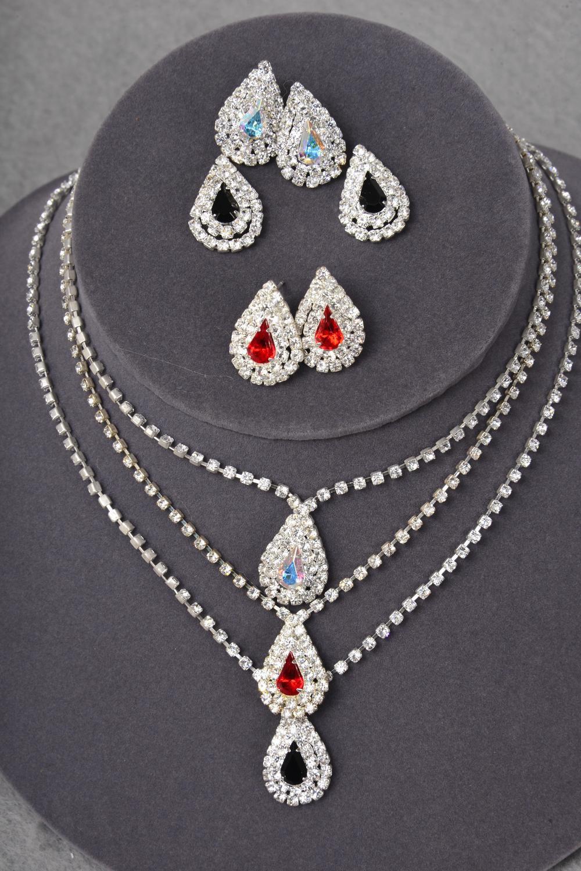 Necklace sets rhinestone w teardrop pendant sets post for Code postal charmes