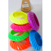 "Bangle Hinge Acrylic Ridged Saucer Neon Color Asst/DZ **Hinge** Neon Size-2.75""x 1.25""  Dia Wide,2 of each color Asst,Hang tag & OPP bag & UPC Code -"