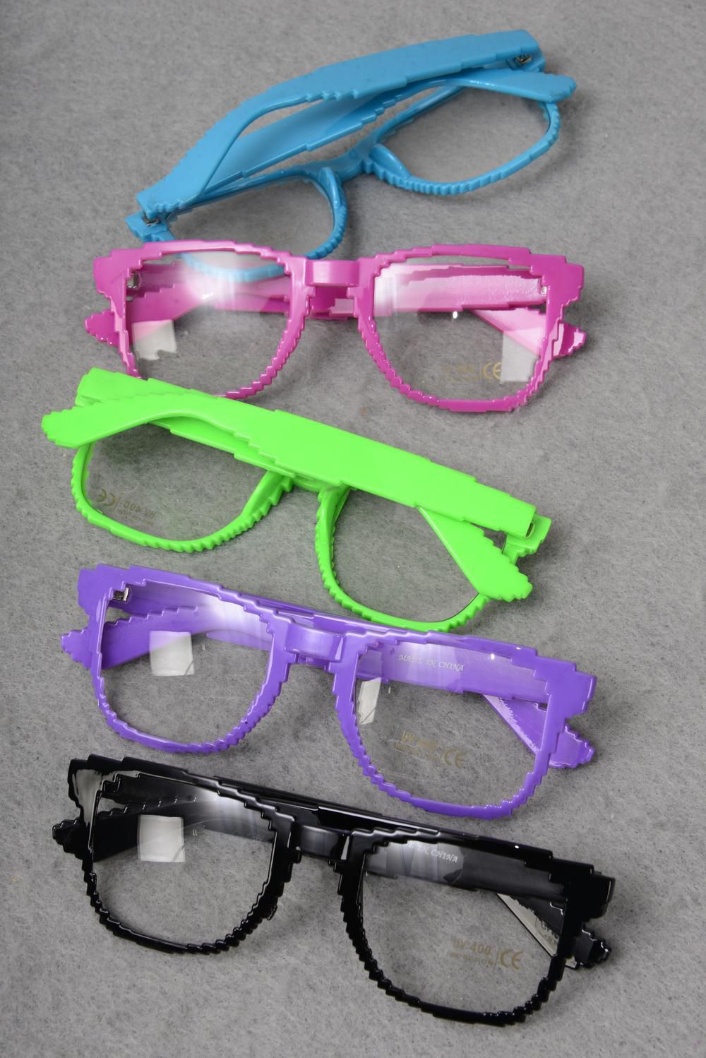 Sun glass Digi W Clear Lens Color Asst/DZ Clear Lens,8 Black,2 Purple,2 Pink,2 Lime mix,OPP Bag & UPC Code,come W Box -