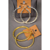 "Earrings Metal Hoop W Design/DZ Size-2.25"" Wide,Choose Gold Or Silver Finish,Earring Card & OPP Bag & UPC Code -"