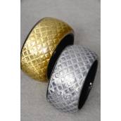 "Bangle Poly With Metallic Fabric/PC Size-2.75""x 1.75"" Wide .Choose Gold Or Silver Finish"