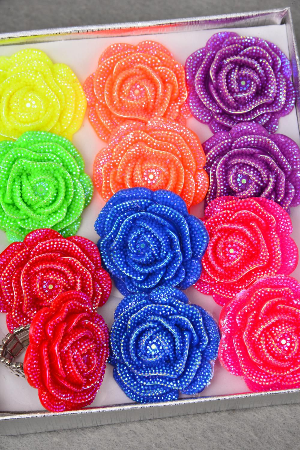 "Rings Poly Cluster Rose Stretch Multi/DZ **Stretch** Flower Size-1.25"" Wide,2 Red, 2 Blue,2 Fuchsia,2 Lavender,2 Orange,1 Yellow,1 Lime Mix"