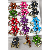 "Rings Flower Acrylic Dark Marble & Rhinestones Adjustable/DZ **Adjustable** Flower Size-1.5"" x 1.25"" Wide,2 Black,2 Red,2 Fuchsia,2 Purple,2 Blue,1 Brown,1 Green,7 Color Asst."