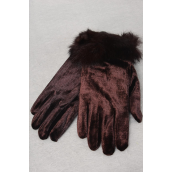 Velvet Glove Brown With Rabbit Fur Stretch/PC **Department Store Quality** OPP Bag & UPC Code,W Hook -