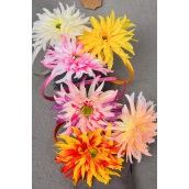 "Head Band Satin 2tone Daisy Flower/DZ Flower Size-4.5"" Wide,2 of each Color Asst,Hang Tag & UPC Code,W Clear Box -"
