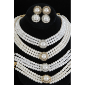 3pcs Necklace Set Round  3 String Pearl W Crystals Po **POST** Choose Cream pearl white pearl or Black Pearl