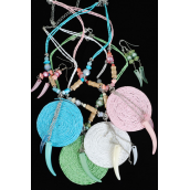 Necklace Set Large Woven Disk/PC **Post** Display Card & OPP bag,Choose Colors