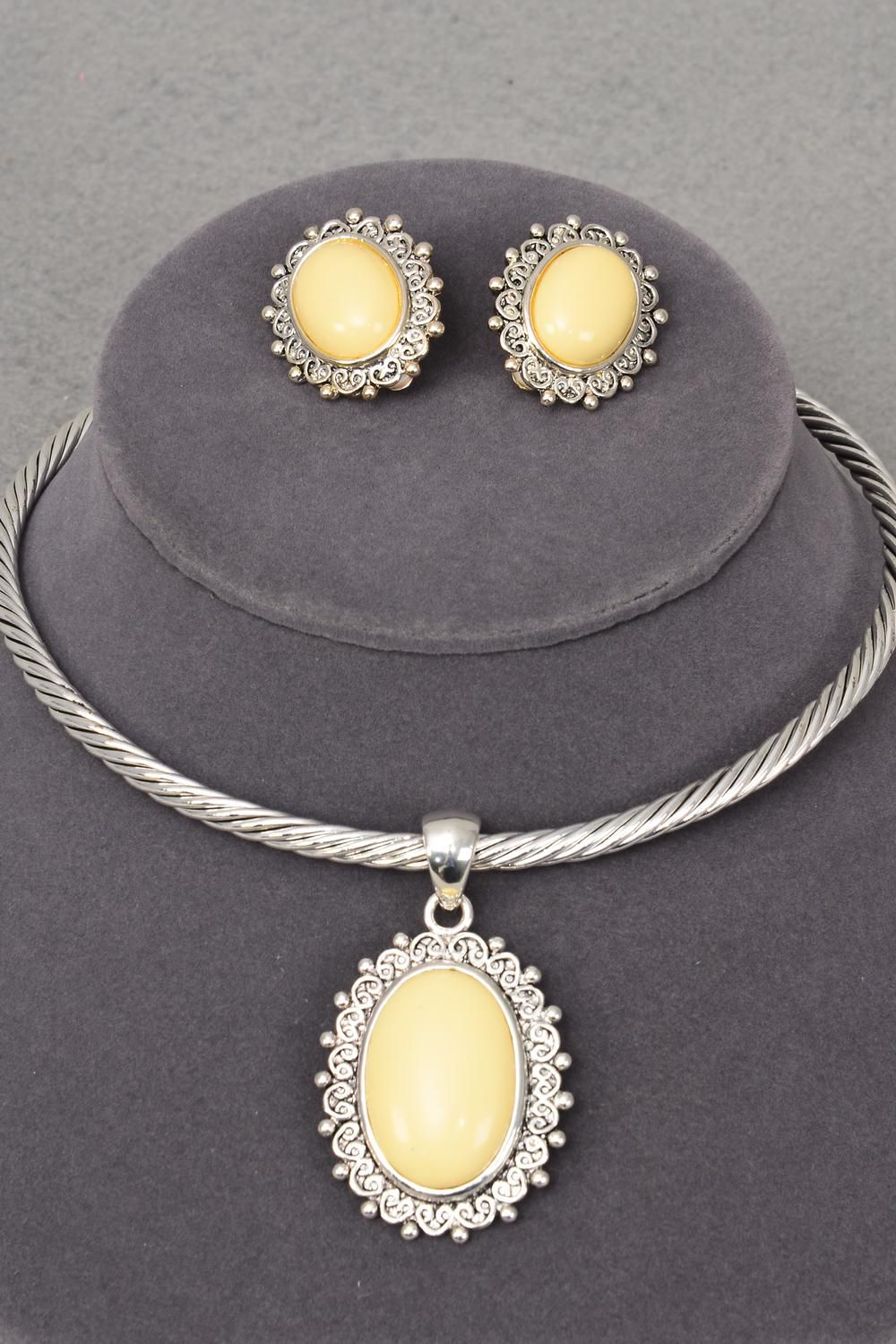 Necklace Set Choker Oval Pandent W Cable-wire Clip On/sets ...