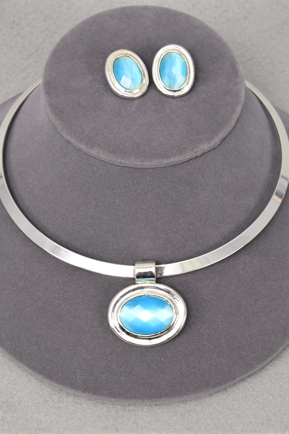 Necklace Sets Choker Blue Cateye Oval Pendant Post/Sets **Post** Blue,Display Card & OPP Bag & UPC Code