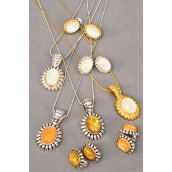"Necklace Sets Snack Chain Oval Poly Pendant Post/Sets **Post** Size-24"" Chain,Display Card & OPP bag & UPC Code,choose color"