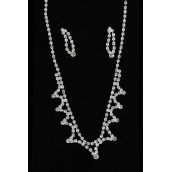 "Necklace Sets Rhinestone W Design,Post/Sets ** Post** 18"" Long W Extension Chain,Velvet Display Card & OPP Bag & UPC Code"
