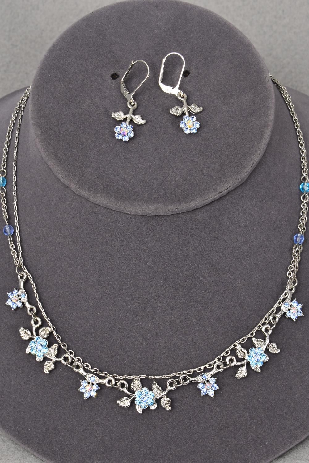"Necklace Sets Rhinestone Flowers Post/Sets **POST** 18"" Long,Display Card & OPP Bag & UPC Code,Choose Colors"