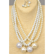 "Necklace Sets 8 mm Glass Pearls W 25 mm Large Pearl Drop/DZ 20"" Long,6 White,6 Cream Mix,Hang Tag & Opp bag & UPC Code -"