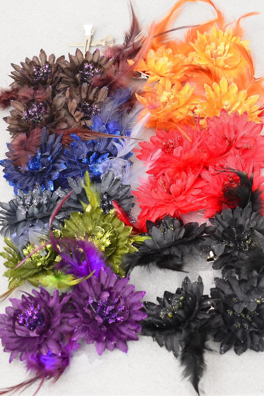Flowers 24 pecs Alligator Clip Glitter Trim Feathers Dark Multi/DZ ...