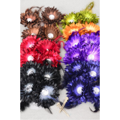 "Flowers 24 pecs Alligator Clip,Daisy Feathers Dark Multi/DZ **Dark Multi** Size-2.75"" Wide,7 Color Asst,Display Card & UPC Code,Clear Box.2 pecs per Card,12 Card=Dozen -"
