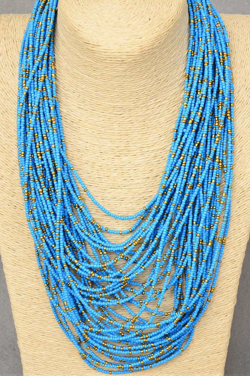 "Necklace Bohemian Like Indian Beads Turquoise/PC **Blue Turquoise** Size-18"" W Extension Chain,Display Card & OPP Bag & UPC Code -"