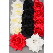 "Silk Flower Tea-Rose Large Red Beige Black Mix/DZ Size-5"",Alligator Clip & Brooch,4 Red,4 Beige,4 Black,4 of each Color Asst,Hang Tag & UPC Code,W Clear Box"