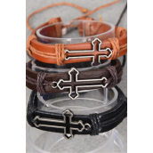 "Bracelet Real Leather Band Cross/DZ **Unisex** Cross Size-1.5""x 0.75"" Wide,4 Black,4 Dark Brown,4 Medium Brown Mix,Hang tag & OPP Bag & UPC Code -"