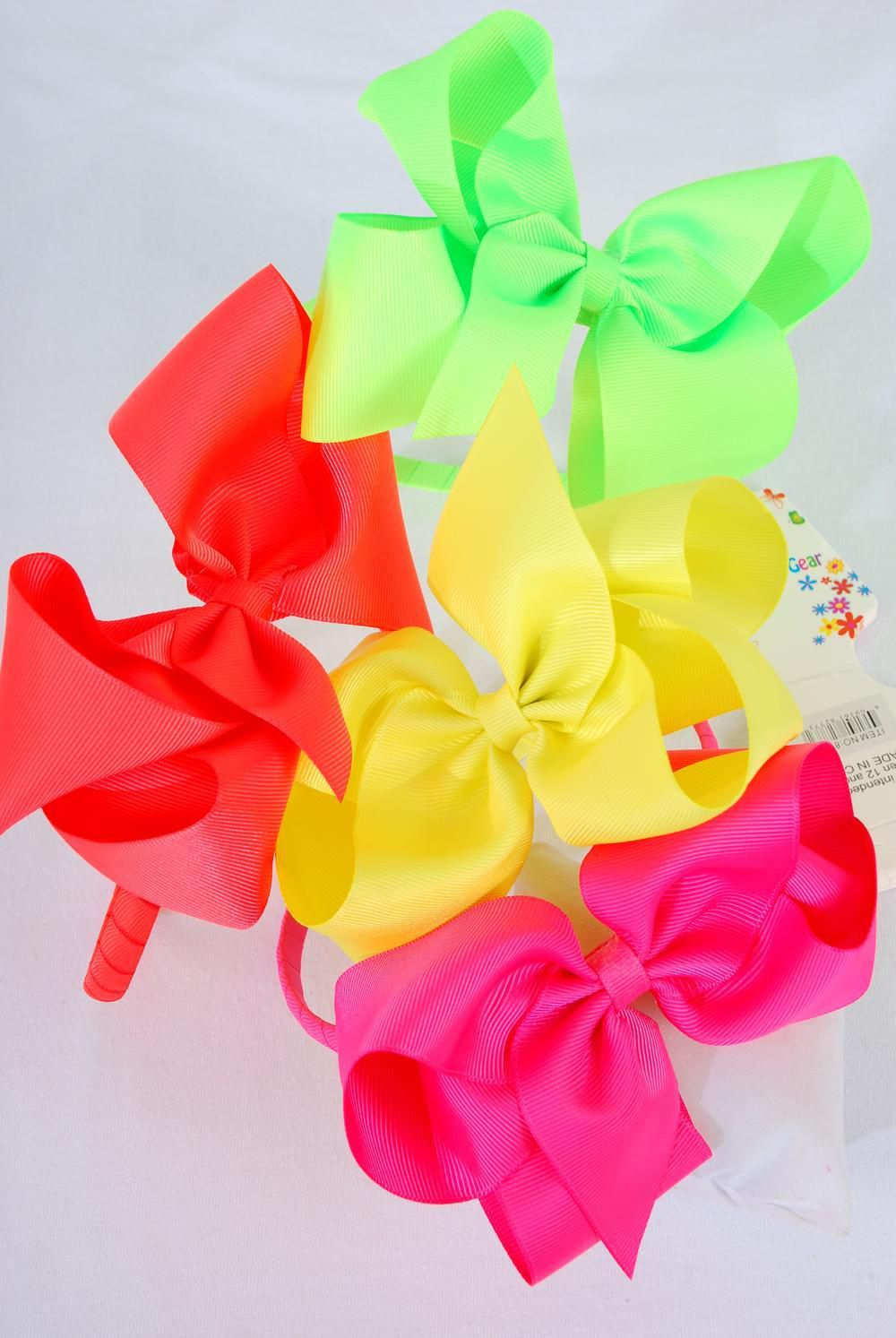 "Headband Horseshoe Jumbo Grosgrain Bow-tie Neon Mix/DZ **Neon** Bow Size-6""x 5"" Wide,3 of each Neon Color Asst,Hang tag & UPC Code,Clear Box -"