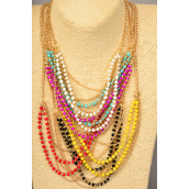 "Necklace Gold Chain 3 Line Acrylic Beads/DZ **Multi** Size-20"" Long,2 Black,2 White,2 Red,2 Turquoise,2 Fuchsia,1 Yellow,1 Purple,7  Color Asst,Hang Tag & OPP Bag & UPC Code"