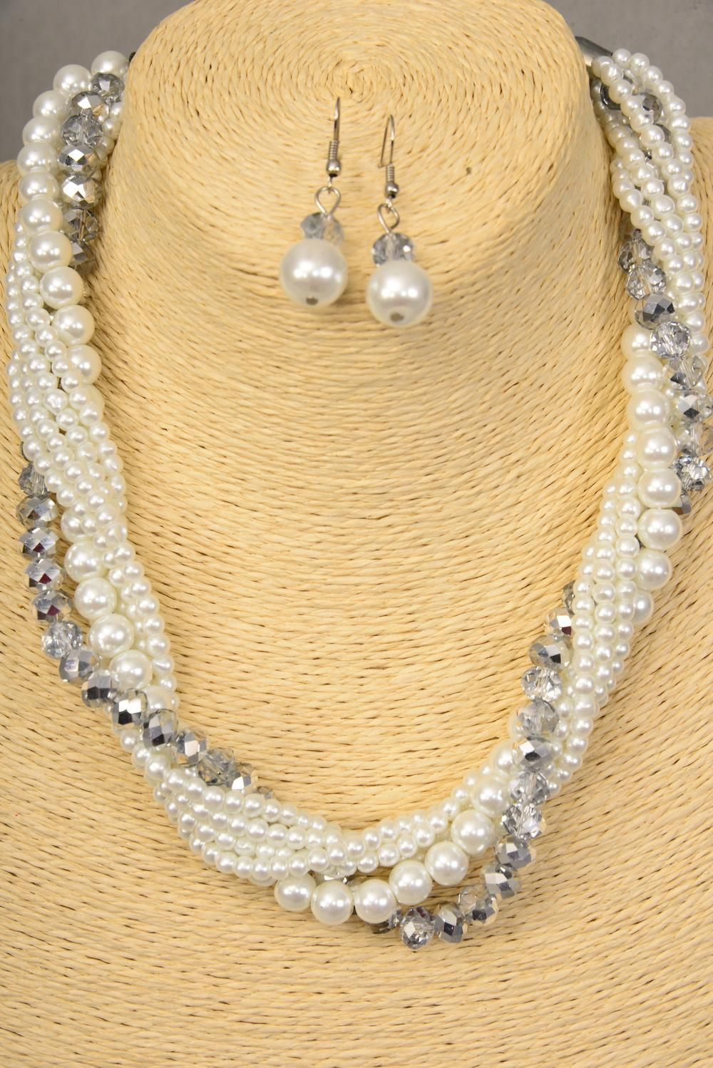 "Necklace Sets Bunch White Glass Pearls W Clear Glass Crystals/set **White** 16"" W Extension Chain,hang Tag & Opp bag & UPC Code -"