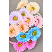 Head Band Satin Flower Life Like/DZ 2 of each Color Asst,Hang tag & UPC Code,W Clear Box