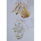Earrings 3 pair Metal Mix Shape/DZ Choose Gold Or Silver Finish,3 pair per card,12 Card=Dozen
