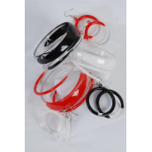 "Bangle & Earring Sets Acrylic Transparent Red White Black Mix/DZ Bangle-2.75""x 1.25"" ,Earrings-1.2"",4 Red,4 White,4 Black Mix,Hang tag & OPP bag & UPC Code"