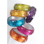 "Bangle Acrylic Cat-eye Carved Multi/DZ **Multi** Size-2.75""x 1.25,2 of each Color Asst,Hang tag & OPP Bag & UPC Code"