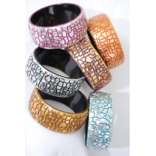 "Bangle Acrylic Color Mix/DZ Size-2.75"" x 1.25"" Dia Wide,6 Gold & 6 Silver Mix,2 of each Color Asst,Hang tag & Opp bag & UPC Code"