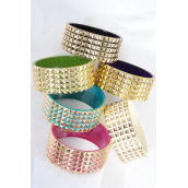 "Bangle Acrylic 2 tone 3D Gold Mix/DZ Size-2.75""x 1.25"" Wide,2 of each Color Asst,Hang Tag & OPP Bag & UPC Code"
