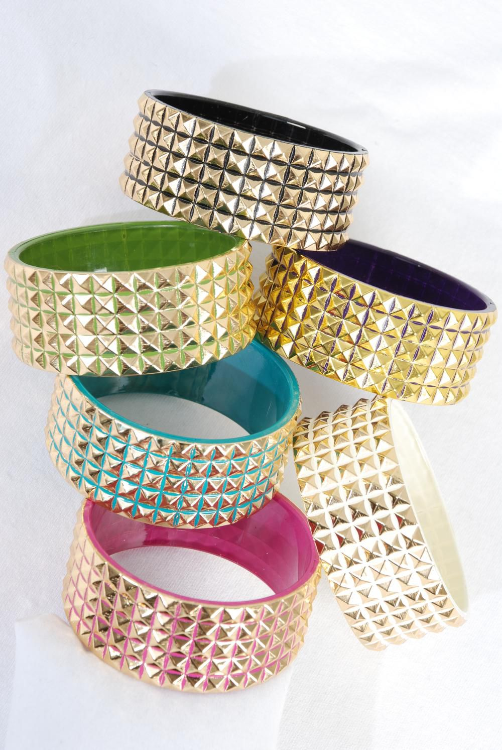 "Bangle Acrylic 2 tone 3D Gold Mix/DZ **Multi** Size-2.75""x 1.25"" Wide,2 of each Color Asst,Hang Tag & OPP Bag & UPC Code"