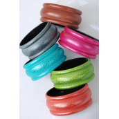 "Bangle Acrylic Color Asst/DZ match 02704 Size-2.75""x 1.25"" Dia Wide,2 of each Color Asst,Hang tag & Opp bag & UPC Code -"