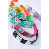 "Headband Horseshoe Acrylic 2 tone Infinity Acrylic Stones/DZ Size-1"" Wide,2 of each Color Asst,Hang Tag & Individual OPP Bag & UPC Code -"
