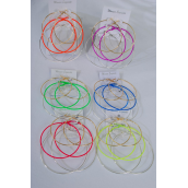 "Earrings 3 Pair Metal Loop Color Earrings/DZ **Caribbean Neon** Post,Loop Size-2.5"" 3"" 3.5"" Wide,2 of each Color Asst,Earring Card & Opp bag & UPC Code,3 pair Per Card,12 Card= Dozen"