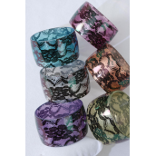 "Bangle Wide Acrylic Silky Flower Print/DZ Size-2.75""x 1.75"" Dia Wide,2 of each Color Asst,Hang tag & Opp Bag & UPC Code -"
