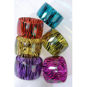 "Bangle Acrylic Wide Zebra Print/DZ Size-2.75""x 1.75"" Dia Wide,2 of each Color Asst,Hang Tag & OPP bag & UPC Code -"