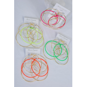 "Earrings 3 Pair Metal Neon Color Gold & Silver Loop Mix/DZ **Post** Loop Size-2.5"" Wide,6 Gold & 6 Silver Mix,2 of each Neon Color Asst,3 Pair Per Card,12 card=Dozen,Earring & UPC Code"