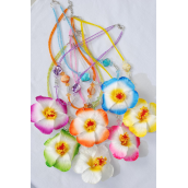 "Necklace Indian Beads Shell Block Flower Life Like/DZ Flower Size-3.5"" Wide,24"" Long,2 Hot Pink,2 Blue,2 Yellow,2 Orange,2 Beige,1 Purple,1 Lime mix,Hang tag & OPP bag & UPC Code,W Clear Box"
