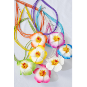 "Necklace Indian Beads Artificial Foam Hibiscus Flower/DZ Flower Size-4"" Wide,24"" Long,2 Hot Pink,2 Blue,2 Yellow,2 Orange,2 Beige,1 Purple,1 Lime mix,Hang tag & OPP bag & UPC Code ,W Clear Box"