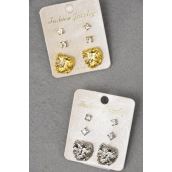 Earrings 3 Pair Metal Lions & Rhinestone Studs/DZ **Post** 6 Gold & 6 Silver Mix,Earring Card & OPP Bag & UPC Code,3 pair per Card.12 card= DZ