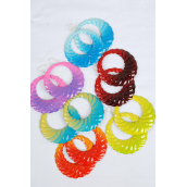 "Earrings Metal Circle Color mix/DZ **Fish Hook** Size-2.5"" Wide, 2 of each Color Asst,Earring card & Opp Bag & UPC Code -"