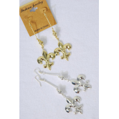 "Earrings Dangle Fleur De Lis Symbol G/S Mix/DZ **Fish Hook** Fleur De Lis Size-1.5""x 1.25"" Wide,6 Gold,6 Silver Asst,Earring Card & OPP Bag & UPC code -"