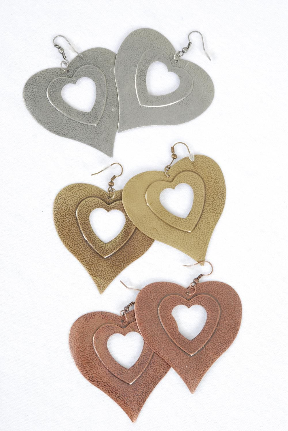 "Earrings Metal Heart Antique Finish/DZ **Fish Hook** Size-2.25""x 2"" Wide,4 Copper,4 Brass,4 Pewter Mix,Earring Card & OPP bag & UPC Code -"